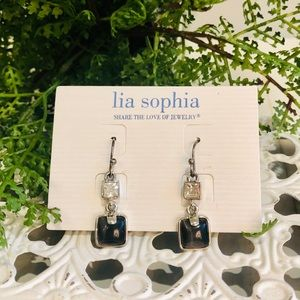 Lia Sophia silver drop earrings rhinestone w/black